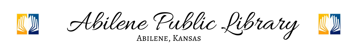 Banner that says Abilene Public Library, Abilene Kansas